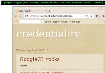 google command line tool screenshot